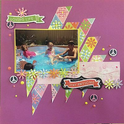 handmade scrapbook page 12 X 12 Loving Life Stay Awesome Themed Layout