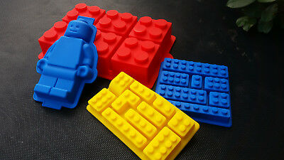 4x Lego brick minifigure silicone mold ice tray Muffin Pan chocolate cake topper