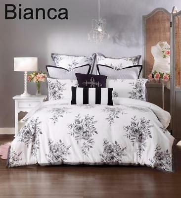 New Bianca 3pc portia white black floral quilt cover king elegance style bedding