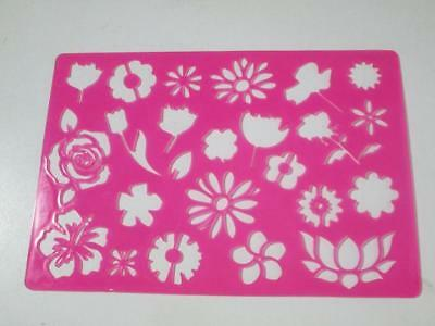 Kids party art craft school project tracing stencil FLOWER ROSE TULIP STENCIL B
