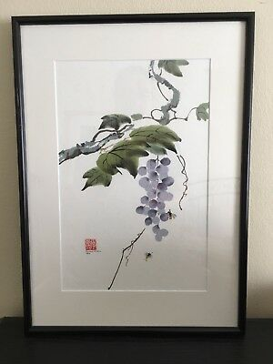 """Chinese Art Ink and Watercolour, """"Grapes"""", Howard McKern 1984.Stamped and Signed"""