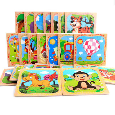 16PCS Wooden Cute Animals Baby Kids Puzzle Learning Educational Toy CHIC
