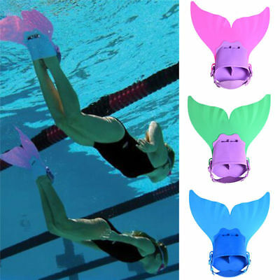 Kid Youth Mermaid Tail Swimming Diving Monofin Swimmable Fin Training Flipper AU