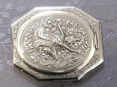 Superb Sterling Silver Chinese Export Silver Powder Compact Burma Thailand