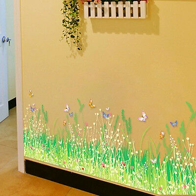 1X Butterfly Flower Green grass Wall Stickers Removable Home Wall Decal Decor US