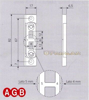 Incontro registrabile per puntali AGB cod.A200170605 Aria 11 mm 2 for1 17x7 mm