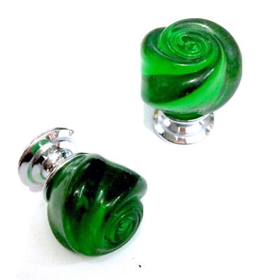POMELLO VETRO DI MURANO D.mm.30 VERDE LUCIDO base CROMO LUCIDO Made in Italy