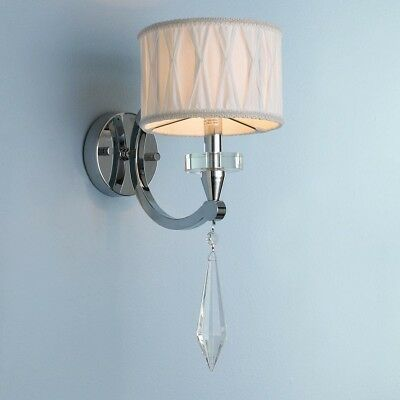 Metro Candelabra 1-light Arm Chrome Finish And Clear Crystal Wall Sconce Light