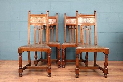 Arts and Crafts chairs with copper decoration (100454)