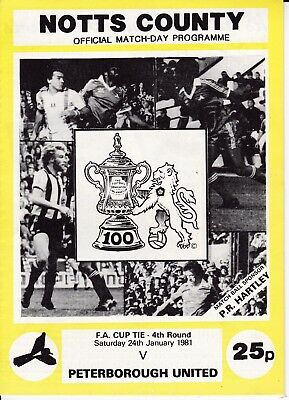 Notts County v Peterborough United FA Cup 4th Round 1980/81