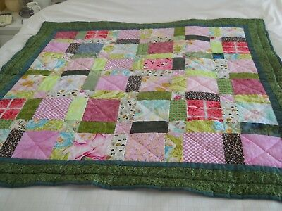 "Small Hand Made Patchwork Quilt.  44"" Square."