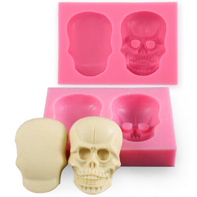 3D skull Flexible Silicone Mould - Cake Toppers, Fimo, Sugarpaste, Candle