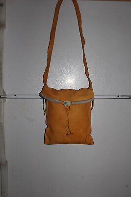 """AUTHENTIC NATIVE AMERICAN BUCKSKIN POUCH By DINE ARTIST Varian Manning-11"""" X 9"""""""