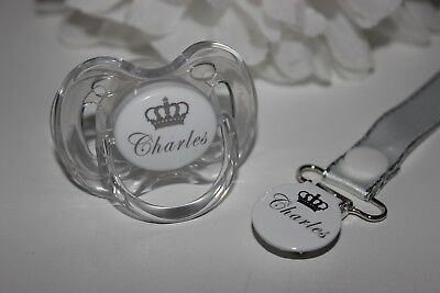 Personalised Crown Avent Dummy & Clip ** LASER ENGRAVED ** CAN BE STERILISED **