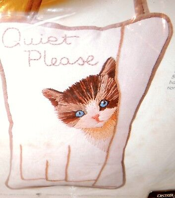 Stamped Picture Cute Kitten Kit Quiet Please Linen Embroidery Crewel Peeping Cat