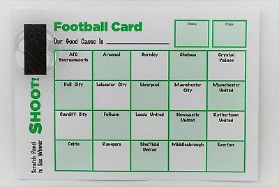 Pack of 10 Fund Raising Charity Event Football Scratch Cards 20 Teams