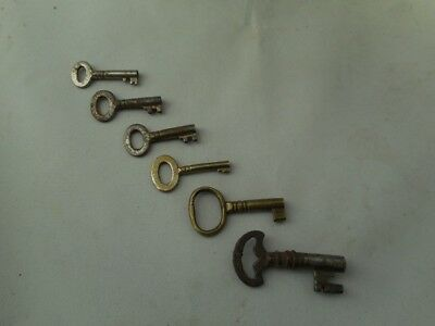6 SMALL ANTIQUE c1800's METAL KEYS for WOODEN BOXES TEA CADDIES WRITING SLOPES