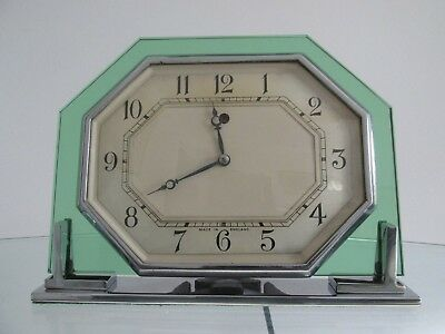 Art Deco Octagonal Green Glass Smiths Electric Mantel Clock 1930s Working