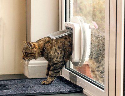 Microchip Cat Flap Door Window or Wall Pet Best Sureflap 4 Way Manual Lock White