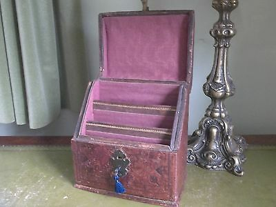A 19th Century Leather Stationary Box with lock & key
