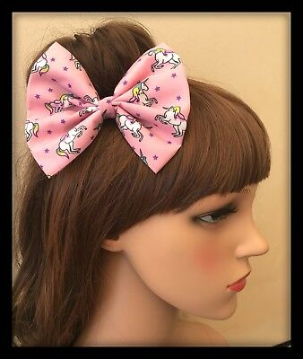 Pink Unicorn Hair Bow Bobbles Headband Bandana Hairband Elastic Tie Band Party