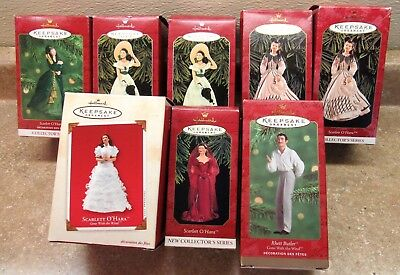 Hallmark Lot Of (8) Gone With The Wind Christmas Ornaments Mint In Boxes Euc