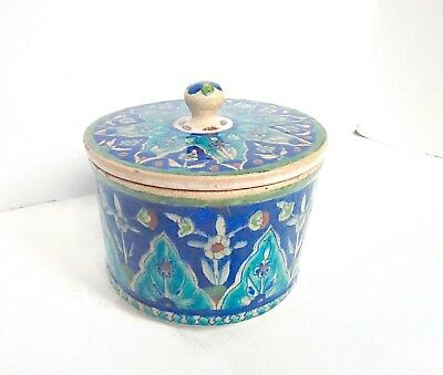 Antique Islamic Jerusalem Pottery Palestine Iznik Lidded Jar Beautiful Colors