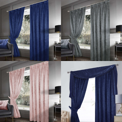 Crushed Velvet Lined Pencil Pleat Curtains 5 Colours NEW Navy & Blush Pink SMART