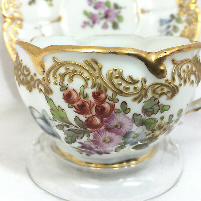 Meissen Ornate Tea Cup and Saucer, Handpainted Floral Gold Accents, Germany