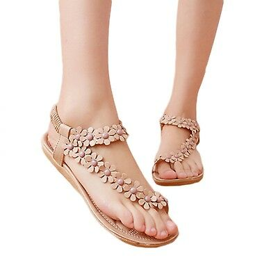 Women Sandals Flower Design Casual Thong Flats Summer Fashion Slip On Shoes New