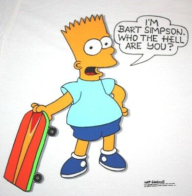 L * NOS vtg 80s 1989 I'm BART SIMPSON who the hell are you t shirt * tv cartoon