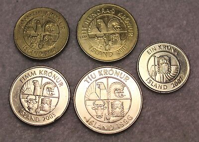 Set of 5 AU toBU coins from Iceland