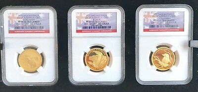 2013 Discover Austrailia Gold Proof Three Coin Set Proof 70  Limited to 250  COA