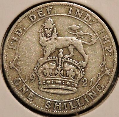 British Silver Shilling - 1921 - King George V - $1 Unlimited Shipping