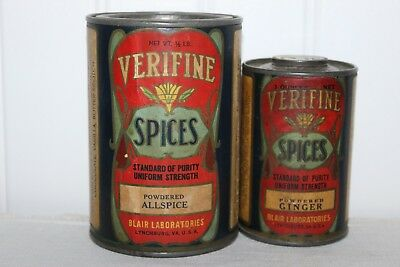 Antiq Twin Pr; Ornate Litho Labels On Metal Spice Tins 1 Will Open At Both Ends!