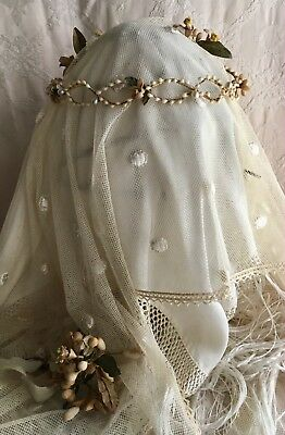 Lovely Antique 19thC French Wedding Crown Wax Orange Blossom Faux Pearls Bouquet