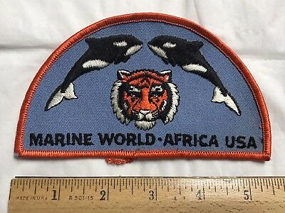 """Marine World Africa USA Vallejo CA Orca Killer Whale Tiger Head 5.5"""" Long Patch"""