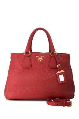 2d1c747c3a3c PRE-OWNED PRADA CALFSKIN Leather Shopping Bag (Red  Calfskin Leather)