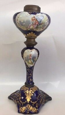 Antique Sevres Porcelain Cobalt Hand Painted Oil Lamp French Lovers