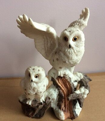 Resin Snowy Owls Figurine Statue Home Decor Mama & Baby
