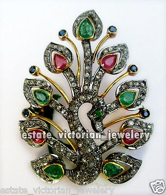 Antique Finished 4.77cts Rose Cut Diamond Gemstone Silver Peacock Brooch Jewelry