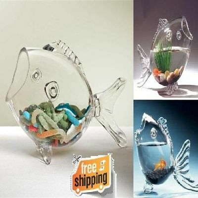 """Terrific Fish Shaped Bowl Clear Glass 10"""" Tabletop Display Candy Container Decor"""