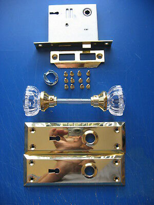 Antique Style Glass Door Knob Set Latch With Key And Hardware (Used)