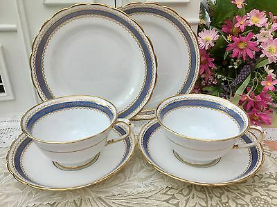 TUSCAN BCM CHINA 1920s TRIO CUP SAUCER PLATE SET x 2 BLUE GOLD GREEK KEY