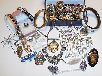 Job LOT Of VINTAGE Antique JEWELLERY Inc SILVER Brooches Czech Earrings WWII ++