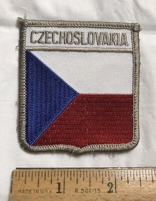 Czechoslovakia Red White Blue Flag Czech Souvenir Shield Embroidered Patch
