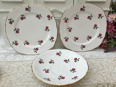 COLCLOUGH CHINA LOT of 3 - SAUCER x 1 PLATE x 2 FRAGRANCE PATTERN PINK ROSE BUDS