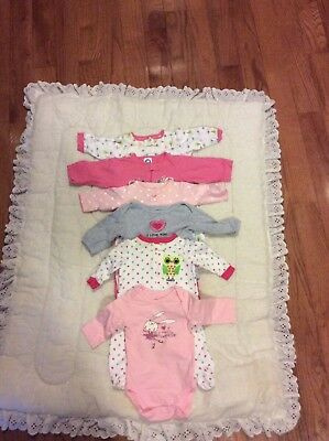 Lot Of 6 Pieces Girls Baby Clothing Carters,(0-3) mo &(3-6)mo.
