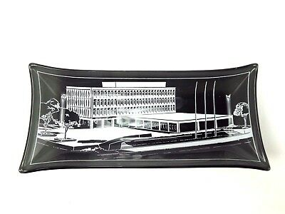1960s Glass Tray Univ. Faculty Credit Union Building Tinted Mid Century Modern