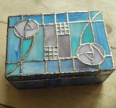 Art Deco style trinket box*hinged lid*blue/pink/green*leaded effect*Christmas*
